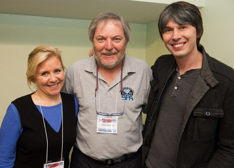 Paul Sutherland with Lucy Hawking and Brian Cox